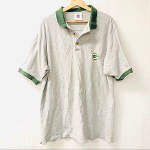 NFL large gray Green Bay polo shirt